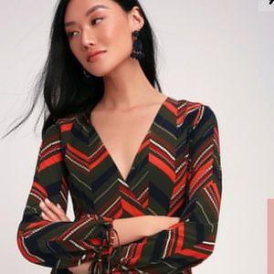 Lulu's Chevron Print Long Sleeve Midi Dress